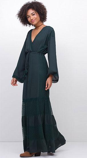 Renner vestido longo com recortes em tule