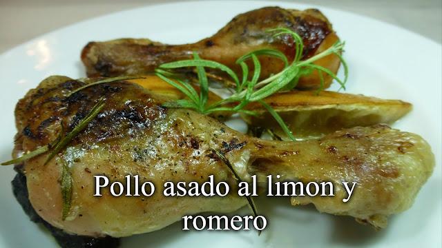 Pollo asado al limón y romero