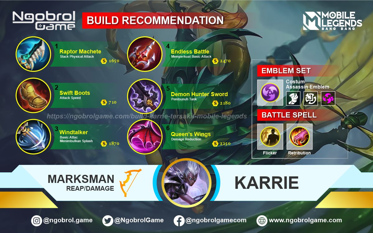 Build Karrie Tersakit 2021 Mobile Legends