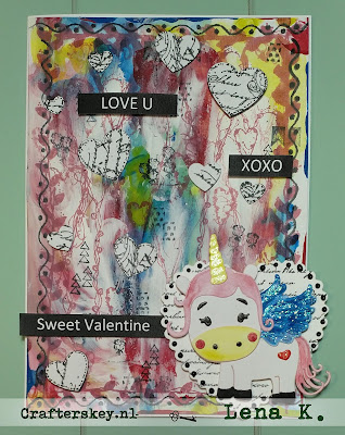 Handmade Valentine Card  Joy!Crafts 6002/1079- Mon Ami Unicorn Lily Marianne Design CR1322 Hearts   Dds3313