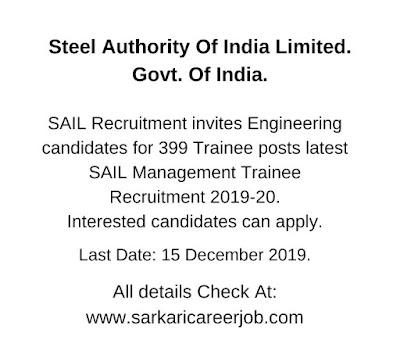 sail management trainee recruitment 2019.