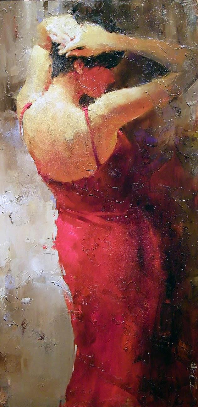 Vestido de Festa - Andre Kohn e suas pinturas - Impressionismo Figurativo