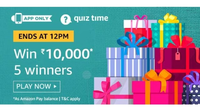 Amazon ₹10000 Pay Quiz Answers - Win ₹10000 Pay Balance