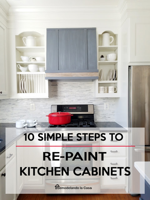 steps to follow to repaint kitchen cabinets