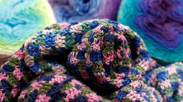 Trio Blanket (free crochet pattern by Felted Button coming soon) made with Scheepjes Whir