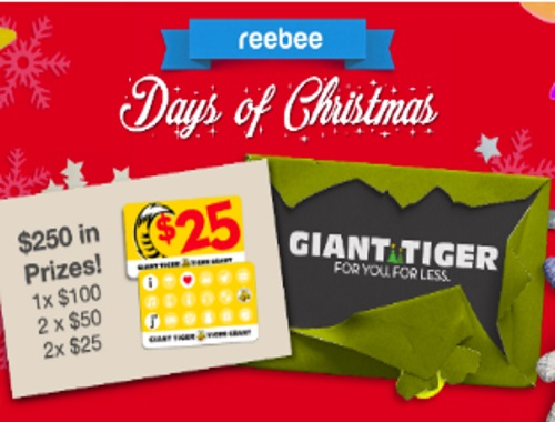 Reebee Giant Tiger Gift Card Christmas Giveaway