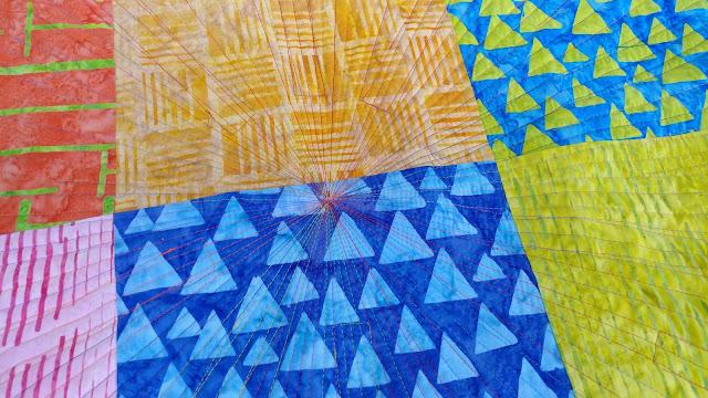 Modern quilt using Elementz Island Batik fabrics