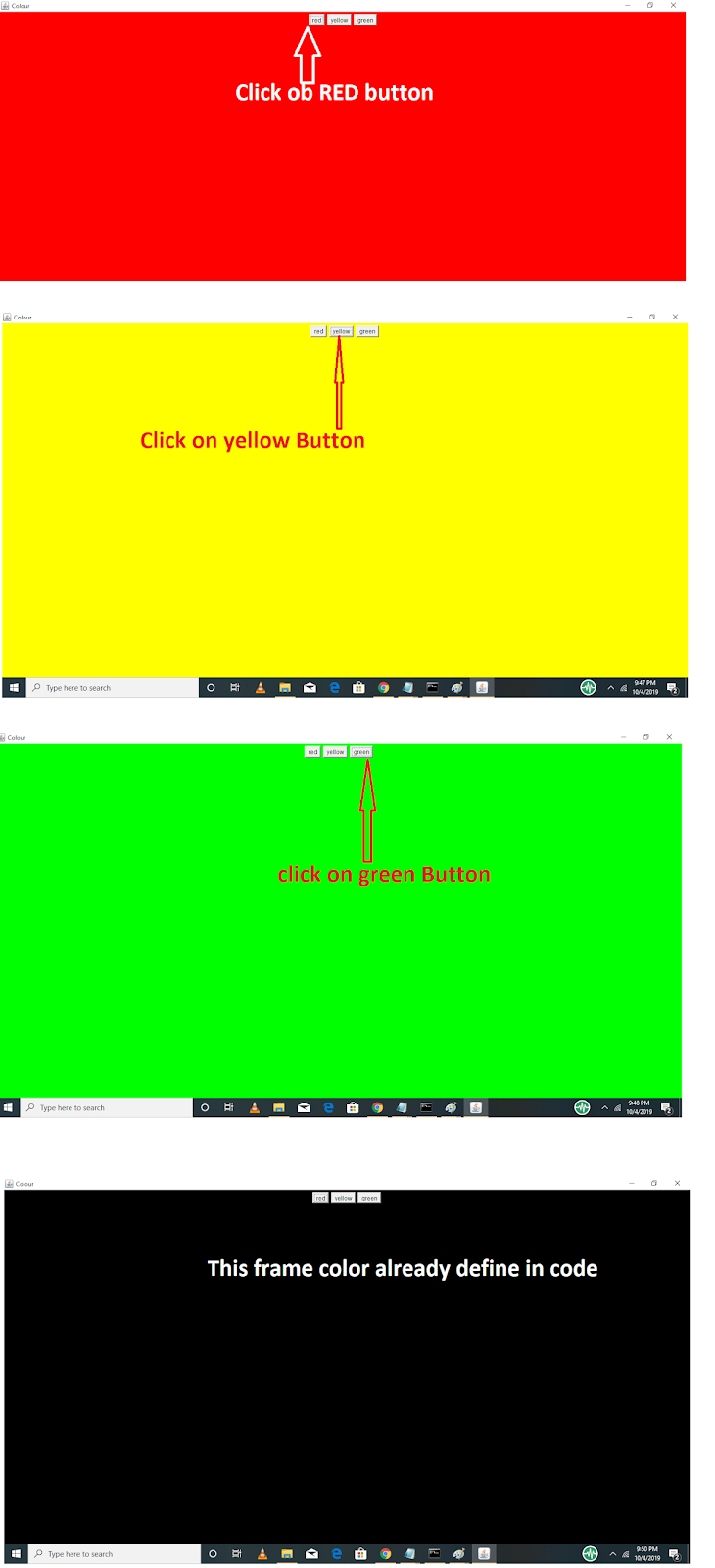 Program to set background and foreground color of an Applet | color changer