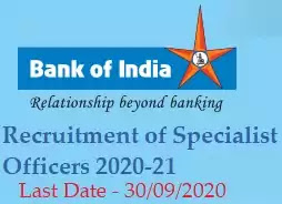 ank of India Specialist Officer Recruitment 2020-21