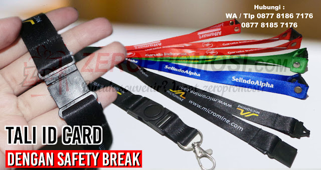 Tali lanyard 2 cm sablon kait IMPORT safety break, Pabrik Tali ID Card, Jual Tali ID Card, Tali lanyard polyester,  Jual tali id Card safety break, Jual Tali ID Card 2cm Sablon logo, Lanyard Tali Name Tag
