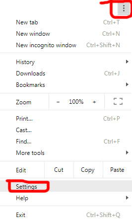 settings in google chrome browser