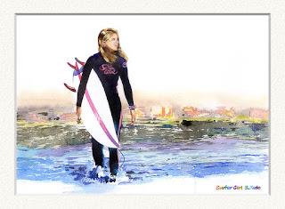 水彩画「サーファーガール」 千葉県一宮で