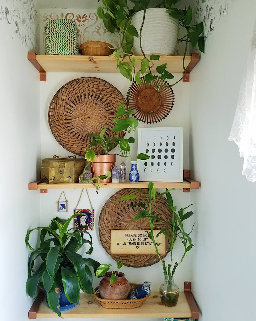 Plant Shelfie With Thrifted Decor - Above The Toilet Decorating Idea - Designed By TheBohoAbode.net