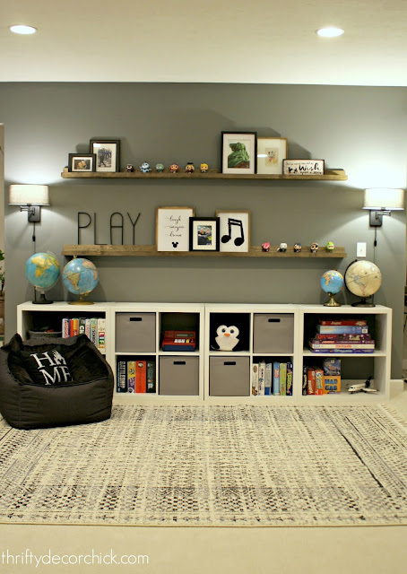 game storage wall with cubbies