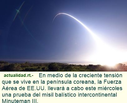 El Pentágono lanzará un misil intercontinental.