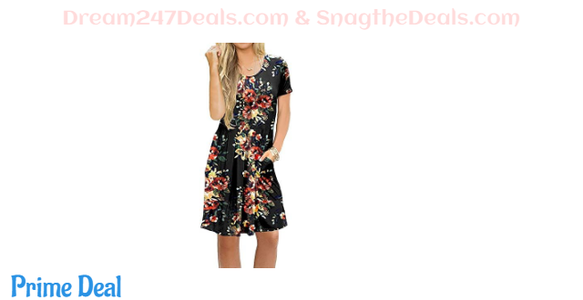 Womens Short Sleeve Casual Knee Length Dress 45%OFF