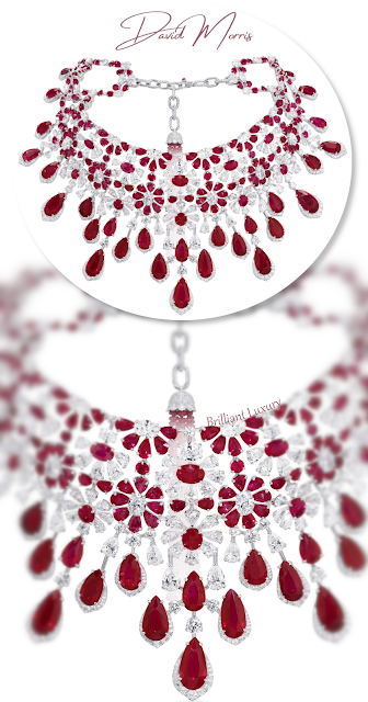 David Morris Amaryllis choker from the Enchanted Isle Collection, set with 175.06 cts of Burmese rubies and 56.58 cts of diamonds #brilliantluxury