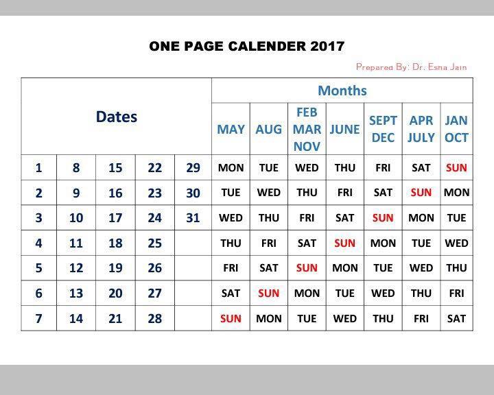 one page calendar, kreatif thinking