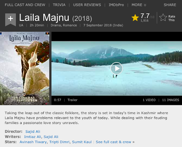 Download Laila Majnu (2018) Hindi Movie Bluray || 720p [1GB] || 1080p [2GB]