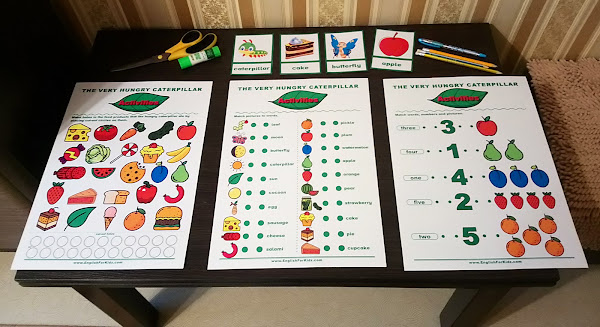 The Very Hungry Caterpillar activities - printable worksheets