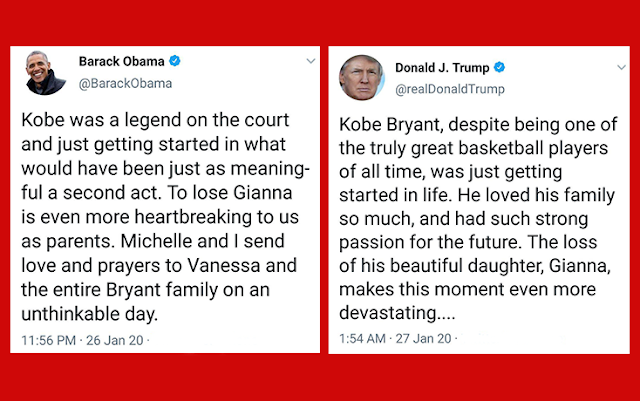 Individuals are blaming Trump for replicating Obama's Twitter tribute to Kobe Bryant after the president utilized comparable expressions and structure