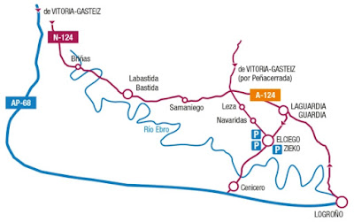 Mapa carreteras Elciego. La Rioja alavesa