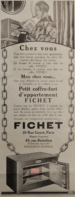 Ancienne publicité Fichet 1925