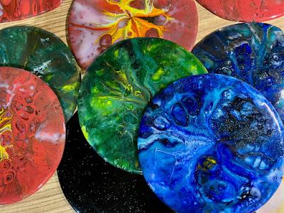 Pot Melt Fused Glass DIY Smalt Glass Mosaic How to make your own Red Blue Green Streaky Sharon Warren Glass SharonWarrenGlass FlutterbyButterfly