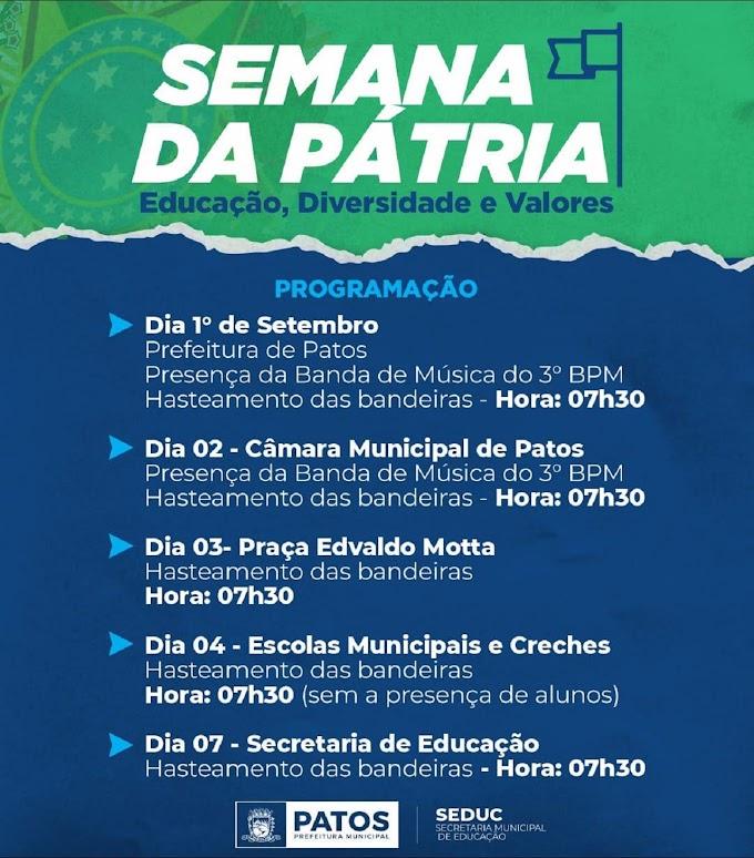 Semana da Pátria, em Patos, terá início no próximo dia 1° com hasteamento das bandeiras; desfile será remoto