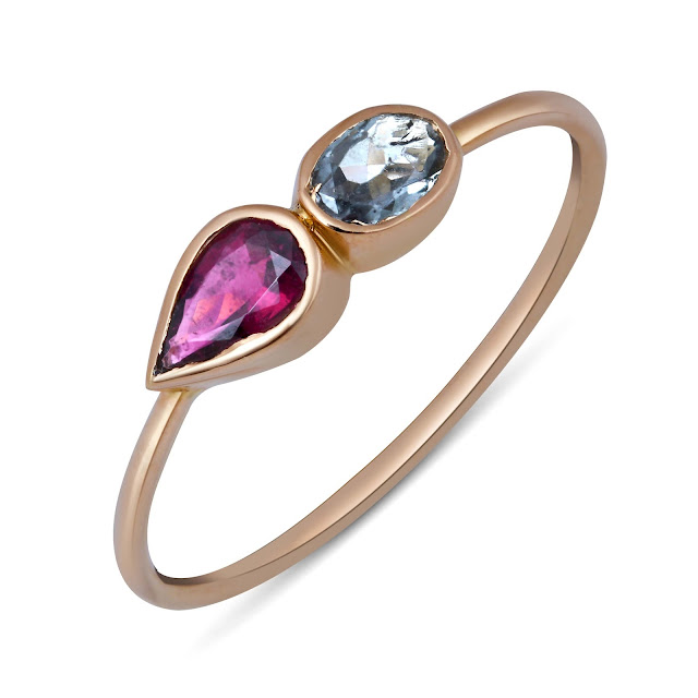 TOURMALINE PEAR AND OVAL RING by Studio Tara available at Velvetcase.com - Rs 12,149