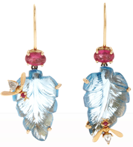 Sharon Khazzam Ruby Bee Leaf Earrings.
