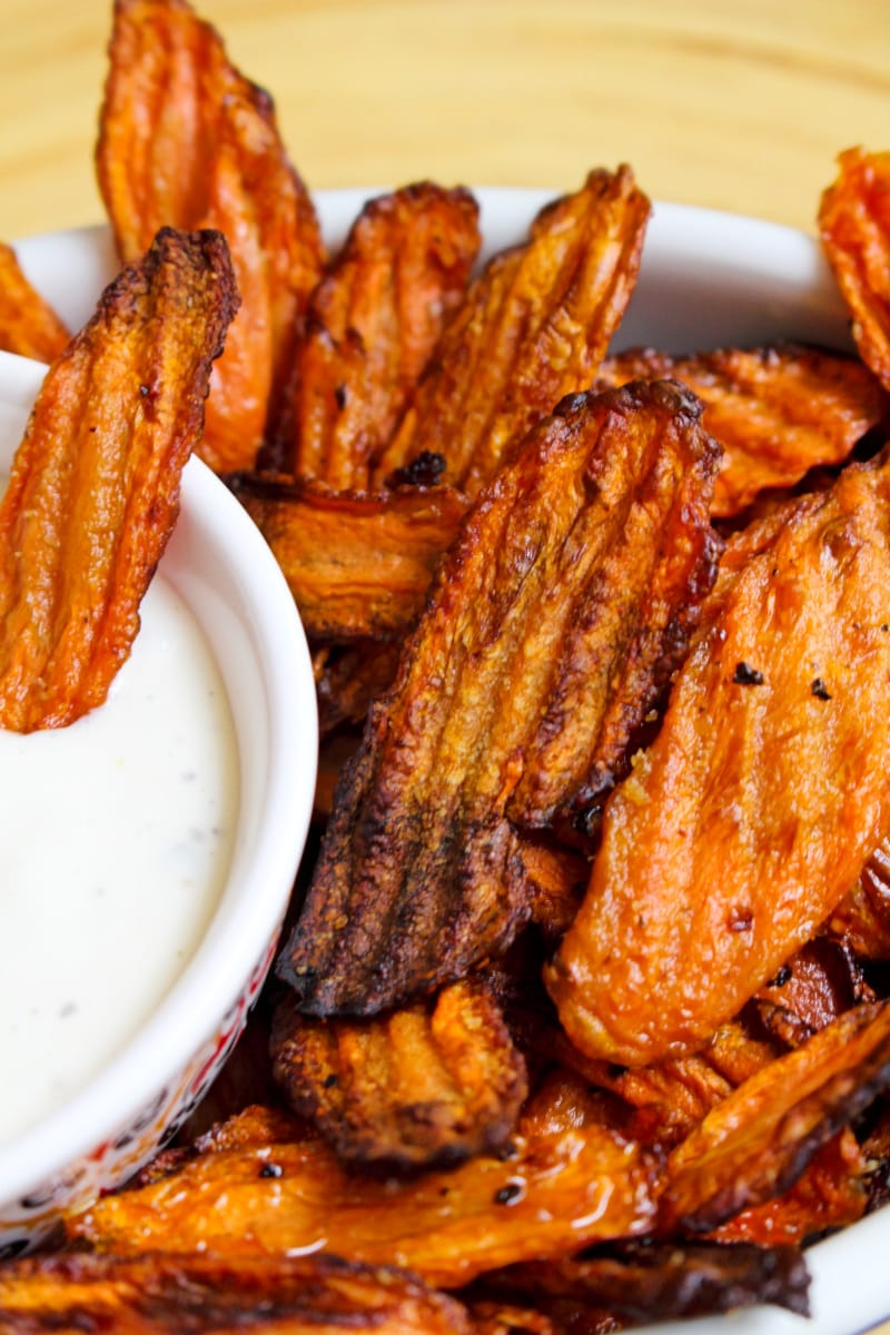 Air Fryer Carrot Chips are air-fried until the edges are crispy and the carrots are tender. They make a delicious side dish or snack! #airfryer #carrots