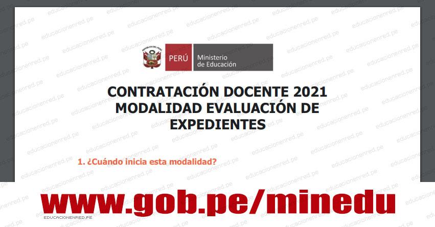 CONTRATACIÓN DOCENTE 2021: Modalidad de Evaluación de Expedientes