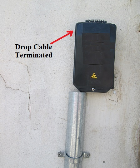 Optical drop cable terminated in ODB at customer building wall