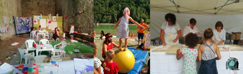 Area bimbi, Emma al workshop di circo, Mia ed Emma a lezione di pasta fatta in casa con le signore della Pro Loco