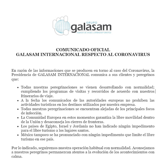 COMUNICADO OFICIAL  GALASAM INTERNACIONAL RESPECTO AL CORONAVIRUS