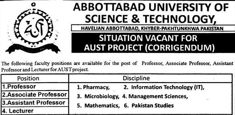 Latest Jobs in Abbottabad
