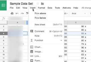 Google Sheets - Inserting Rows/Columns