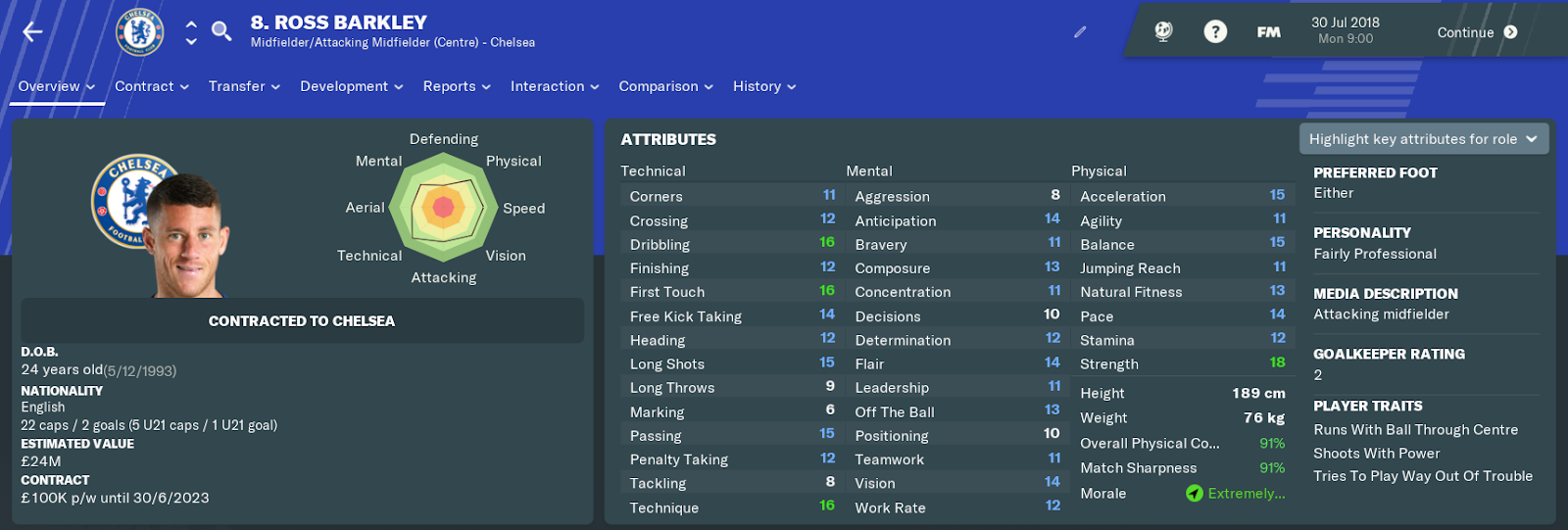 FM19 - Chelsea FC Ross Barkley