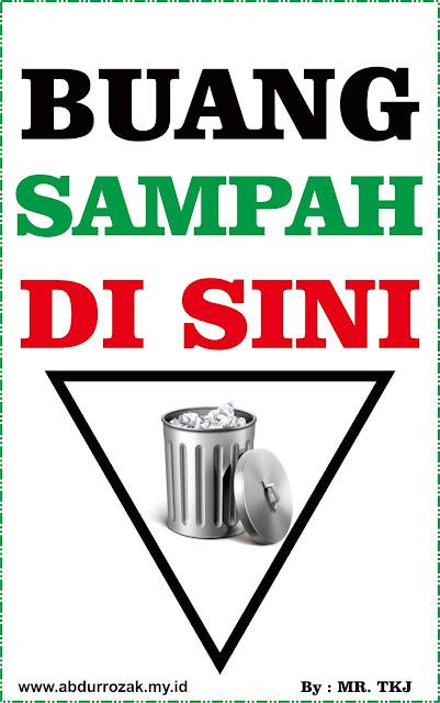 Design Stiker Warning Buang Sampah Disini