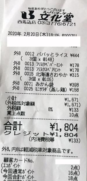 文化堂 西馬込店 2020/2/20 のレシート