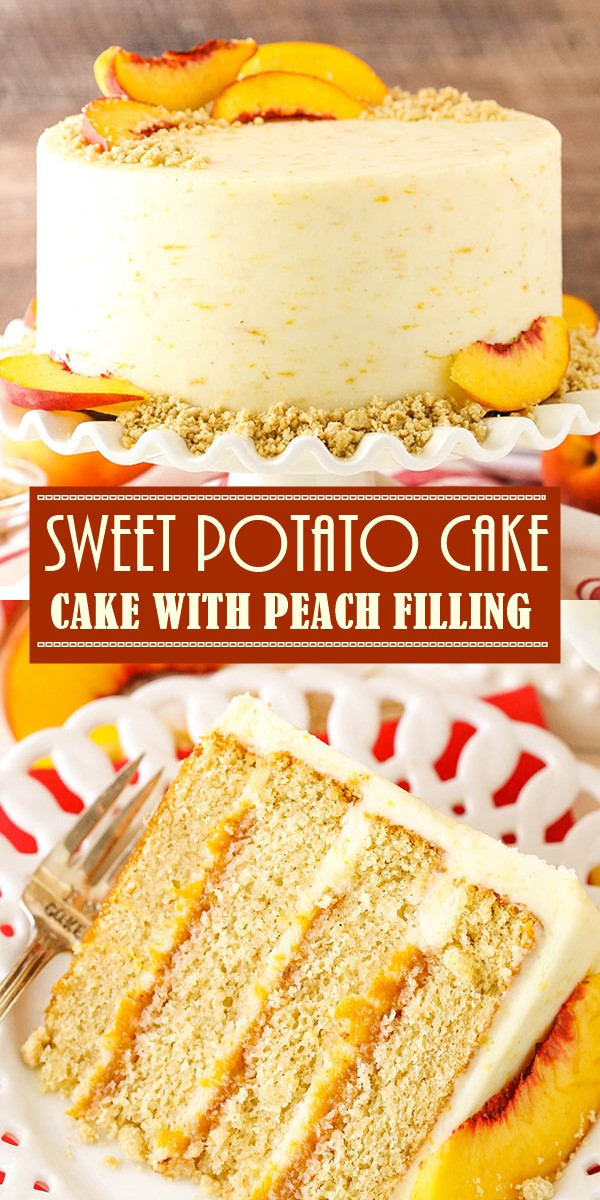 BROWN SUGAR LAYER CAKE WITH PEACH FILLING #cakerecipes