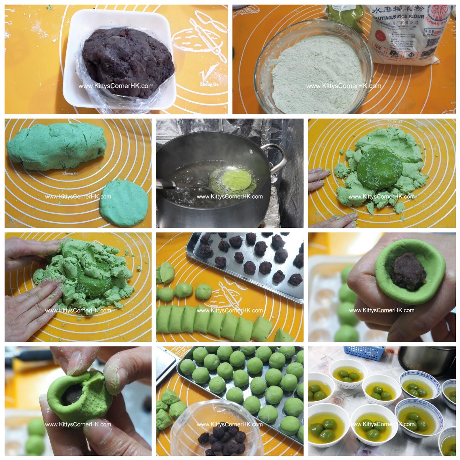 Green Tea Red Bean Tang Yuan DIY recipe 綠茶紅豆湯圓 自家食譜