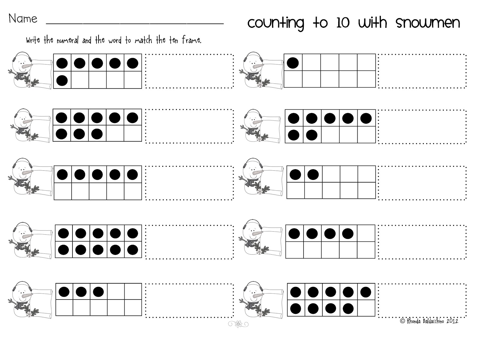 Ten Frame Worksheet 2nd Grade