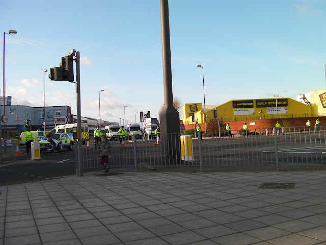 road closed with riot police vans at portsmouth southampton derby