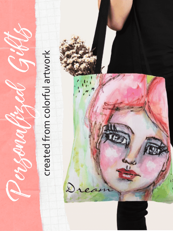 pinnable image of a tote bag from the dream collection whimsical art gifts