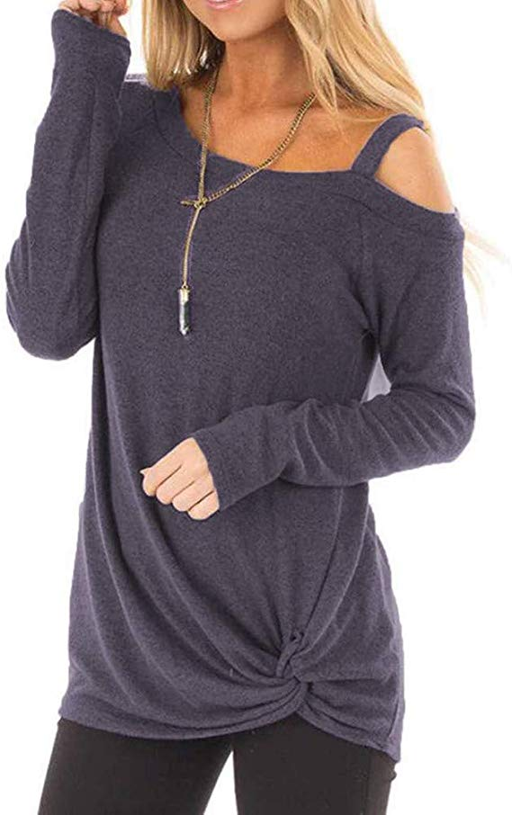 50% off  Blouse Tops for Women, Sttech1 Women Fashion Comfy Loose Long Sleeve O-Neck Casual Solid T-Shirt