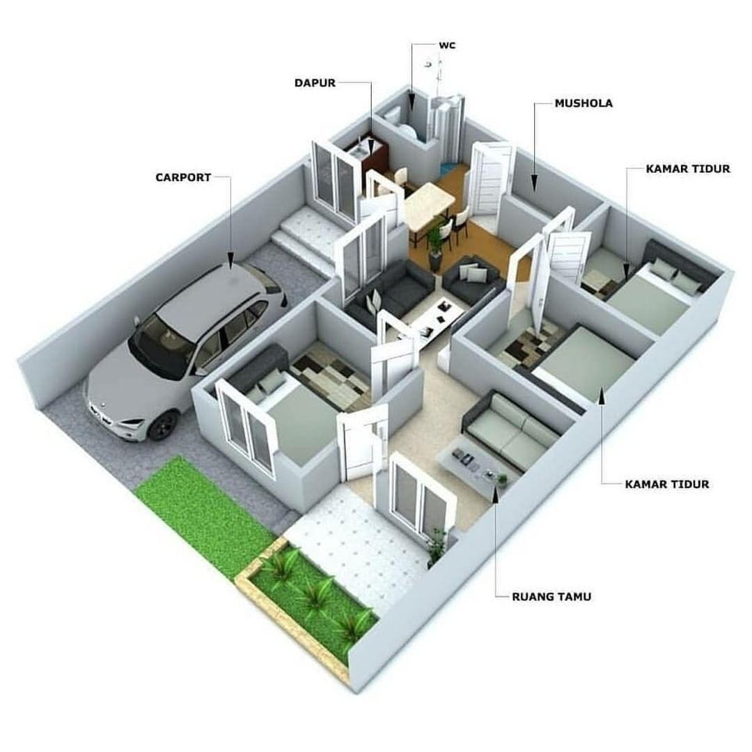 layout rumah 3 kamar tidur