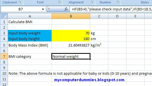Calculate body mass index (bmi formula) in excel 2007 My Computer
