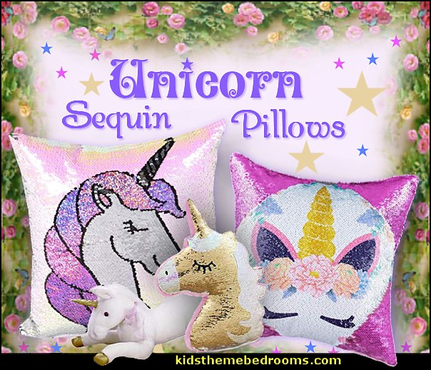 Unicorn Sequin Pillows  unicorn bedding - unicorn decor - unicorn bedroom ideas - unicorns - Unicorn & Rainbows bedrooms -  unicorn duvet - fantasy theme bedroom decorating ideas - fairytale bedrooms decor - pegasus decor - unicorn wall murals - Unicorn bedroom decor - unicorn wall decals - unicorn baby bedrooms - unicorn baby girl bedroom - unicorn crib bedding - unicorn gifts
